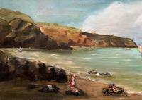 Original Antique 19th Century British Coastal Seascape Oil on Board Painting (4 of 10)