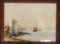 Pair of Early 20th Century Watercolours, Coastal Scene with Boats F&G, inits (7 of 10)