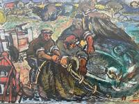 Expressionist Scottish Oil Painting Fishermen Hauling The Nets by Archibald Peddie Glasgow School of Art (5 of 37)