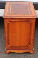 1960s Small Yew Wood Filing Cabinet with Red Leather Inset (3 of 3)