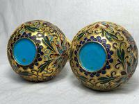 Pair Early 20th Century 1920's Chinese Gilt Champleve Cloissonne Vases (6 of 12)