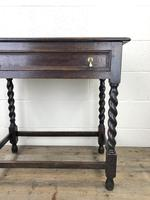 Antique Oak Side Table with Drawer (6 of 10)