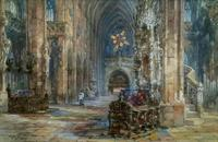 Sir Wyke Bayliss PRBA HRMS Rose Window Brussels Watercolour Painting (4 of 16)