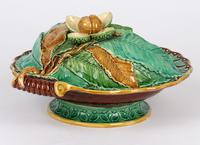 Minton Majolica Pottery Pedestal Chestnut Dish Dated 1867 (14 of 14)