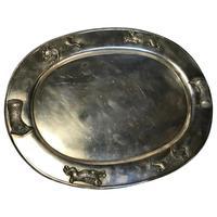 Large Danish Sporting Victorian 19th Century Danish Silver Plate Salver