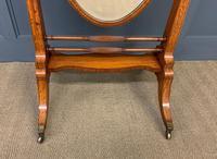 Edwardian Oval Inlaid Satinwood Mirror (4 of 13)