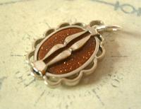 Pocket Watch Chain Fob 1930s Art Deco Silver Chrome & Goldstone Fob Nos (5 of 7)