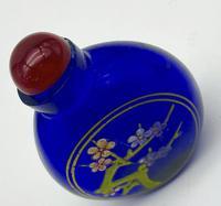 Vintage Blue Glass Floral Snuff Bottle