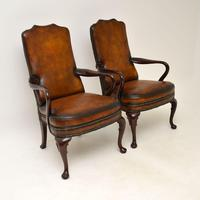 Pair of Georgian Style Leather & Mahogany Armchairs c.1930 (11 of 11)