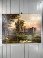 Antique Landscape Oil Painting of Ruined Gothic Abbey with Sheep Signed FCH (2 of 10)
