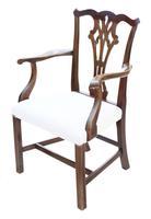 Set of 10 (8+2) Mahogany Georgian Revival Dining Chairs Ribbon Back c.1920-1950 (4 of 10)