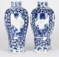 Chinese Pair of Large Blue & White Panel Vases with Figures Qing Dynasty (24 of 25)