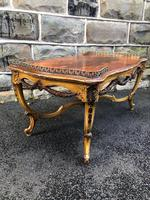 Antique Inlaid Rosewood & Polychrome Painted Coffee Table (7 of 9)