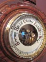 Small Antique Polished Walnut Banjo Barometer (5 of 7)