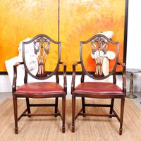 Dining Table & 8 Chairs Mahogany 3.2 Metres Long Hepplewhite Stalker (9 of 16)