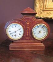 Top Quality Antique Inlaid Clock Barometer (2 of 10)