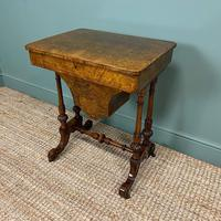 Spectacular Figured Walnut Inlaid Victorian Antique Work Box / Side Table (4 of 8)
