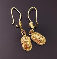 Vintage 18ct Gold Scarab Beetle Earrings, Dangly Earrings (8 of 10)