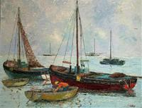 Marion Coker Leigh on Sea Fishing Boats Seascape Sailing Oil Painting (13 of 15)