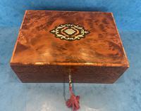 19th Century  French Burr Cedar Jewellery Box (2 of 11)