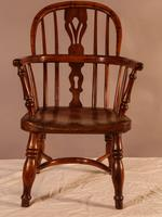 Rare Childs Yew Wood Windsor Stamped Fred Walker (2 of 10)