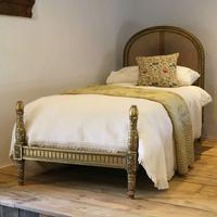 Gilded Louis XVI Matching Pair of Twin Single Caned Rattan Beds (2 of 8)