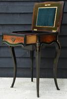 Fine Quality 19th Century French Ebonised & Amboyna Serpentine Sewing Table (14 of 21)
