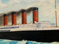 Huge Stunning Antique Seascape Oil Painting of Cunard's RMS Lusitania Ship c.1918 (12 of 16)
