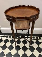 Small Antique  Wine or Candle Table With Galleried Top & Pull Out Shelf (6 of 13)