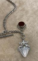 Victorian Silver Double Albert, with t-bar, fob and swivel fob. (3 of 4)