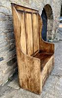Antique Pine Panelled Box Settle (4 of 16)