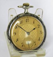 Antique Leonidas Niello Wood Grain Pocket Watch (3 of 5)