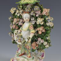 Derby Porcelain Pair Bocage Candlestick Figures Children Gardeners c.1770 (6 of 12)