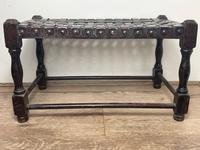 Art Deco Original English Handmade Oak & Leather Strapped Brass Studded Footstool (6 of 22)