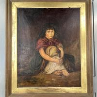 Antique Victorian Oil Painting Portrait of Girl in Red Shawl (3 of 10)