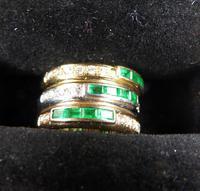Stunning 18ct Gold, Diamond & Emerald Ring 17/n in Original Box 20th Century (8 of 10)