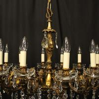 French 12 Light Gilded Bronze Antique Chandelier (6 of 10)