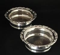 Pair of Antique Silver Plate on Copper Bottle Coasters
