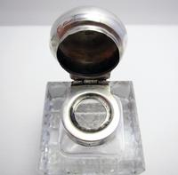Antique Edwardian Solid Sterling Silver & Cut Glass English Inkwell Ink Pot Box, Plain 1904 (7 of 8)