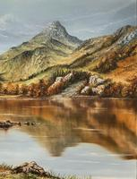 Original 20th Century Snowdonia Lake North Wales Welsh Mountain Landscape Oil Painting (3 of 12)