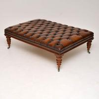 Large Antique Victorian Style Leather & Mahogany Stool / Coffee Table (3 of 8)