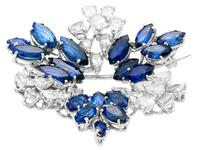 7.95ct Sapphire & 4.75ct Diamond, Platinum Pendant / Brooch - Vintage c.1960 (4 of 9)