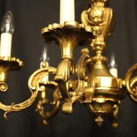 French 6 Light Gilded Bronze Antique Chandelier (5 of 10)