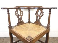 Antique 19th Century Oak Corner Chair with Rush Seat (2 of 10)