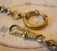 Art Nouveau Pocket Watch Chain 1900 Brass Albert with Pink & Blue Glass Panels (9 of 12)