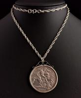Victorian Silver Crown Pendant, Coin Necklace (10 of 11)