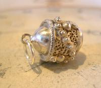 Vintage Pocket Watch Chain Silver Fob 1950s Victorian Revival Stone Set Ball Fob (6 of 9)