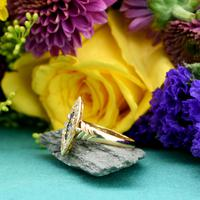 The Antique Edwardian 1905 Sapphire & Diamond Navette Gold Ring (2 of 7)