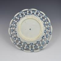 First Period Worcester Large Porcelain Pine Cone Pattern Basket c.1775 (4 of 4)