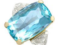25.23ct Aquamarine & 3.40ct Diamond, Platinum Dress Ring - Vintage c.1950 (3 of 9)